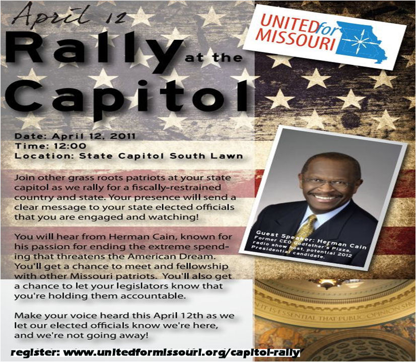 Join Herman Cain at the Capitol Tax Day Rally – April 12, 2011