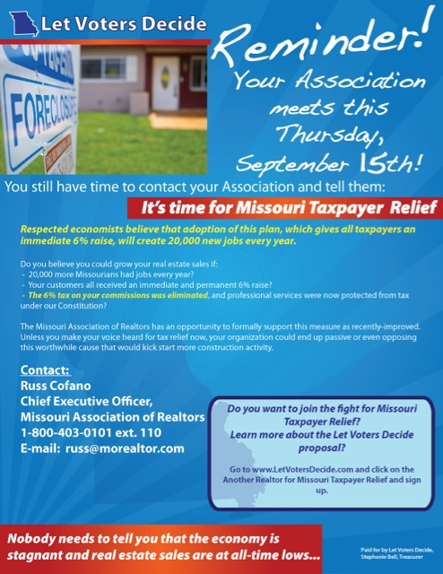 Update: Missouri Association of REALTORS® Deceptive Campaign Against Tax Reform